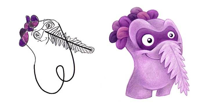 Artist Transforms Kid's Drawings Into Awesome Monsters feather nose