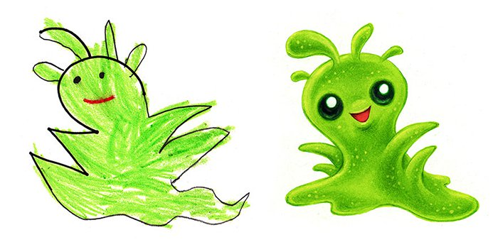 Artist Transforms Kid's Drawings Into Awesome Monsters green gooet