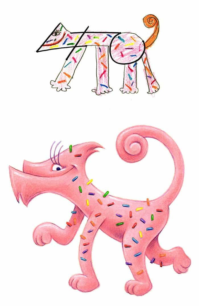 Artist Transforms Kid's Drawings Into Awesome Monsters pink sprinkles