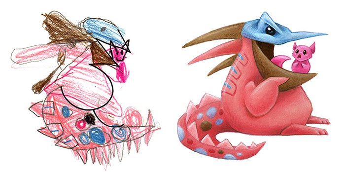 Artist Transforms Kid's Drawings Into Awesome Monsters pokemon