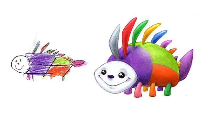 Artist Transforms Kid's Drawings Into Awesome Monsters rainbow
