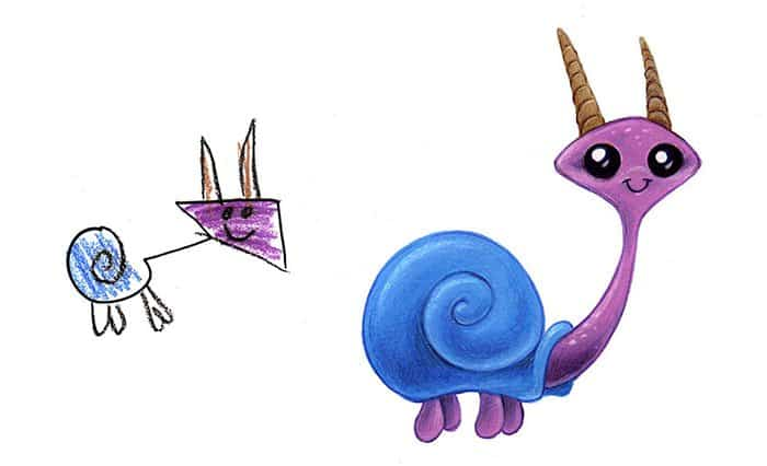 Artist Transforms Kid's Drawings Into Awesome Monsters snail with horns