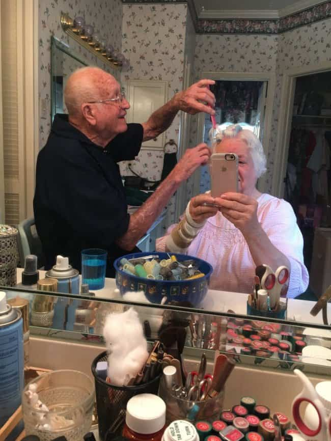 Awesome Husbands doing grandmas hair