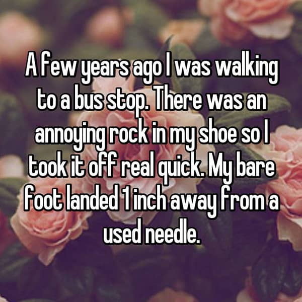 Encounters That Happened At Bus Stops used needle