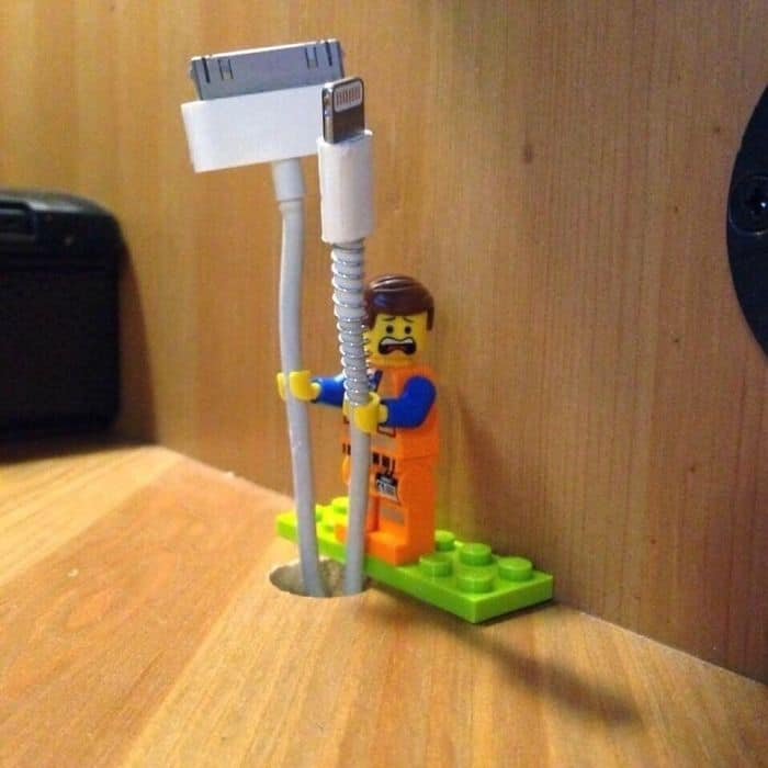 Genius Life Hacks lego cable holder
