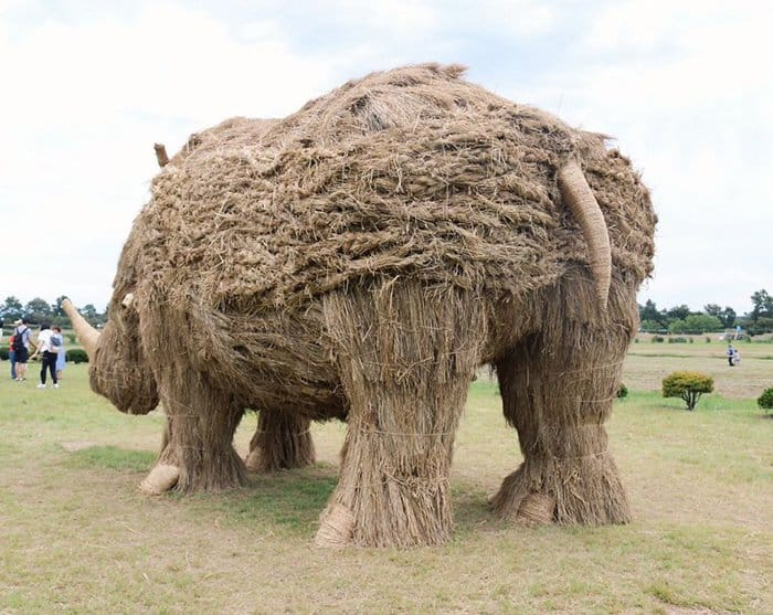 Giant Straw Animals rhino behind