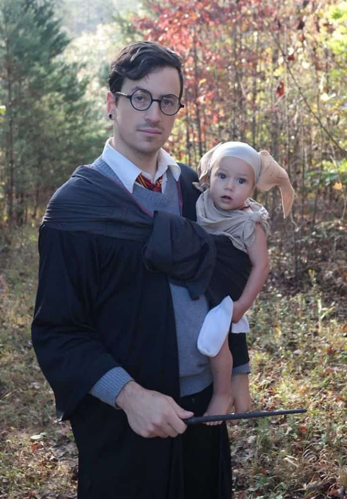 Halloween Costume Ideas For Parents With Baby Carriers harry potter and dobby