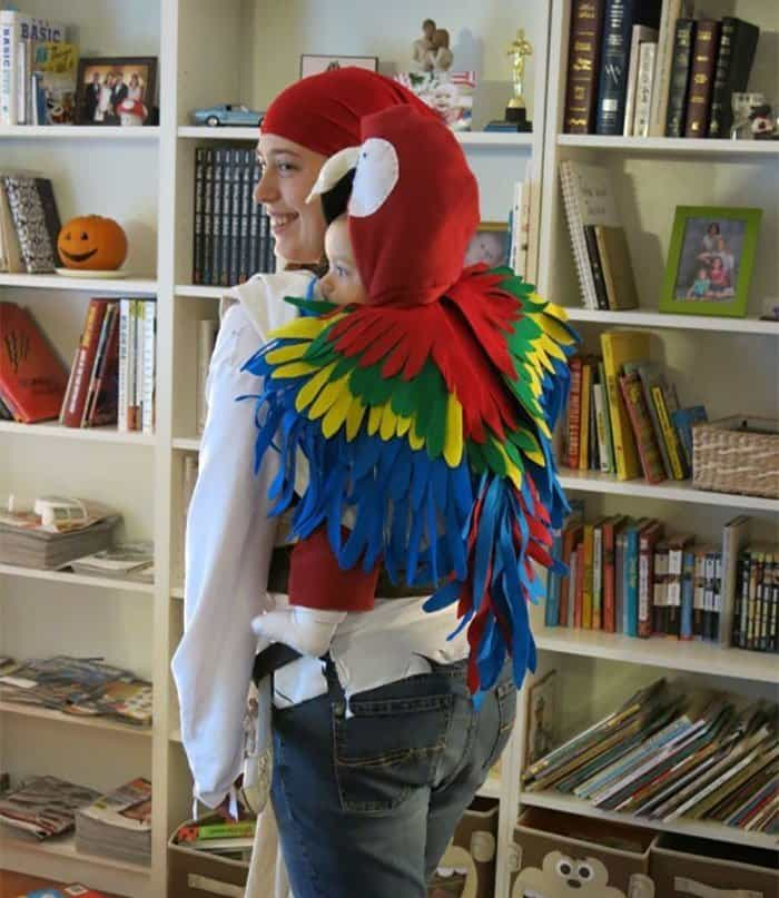 Halloween Costume Ideas For Parents With Baby Carriers pirate and parrot