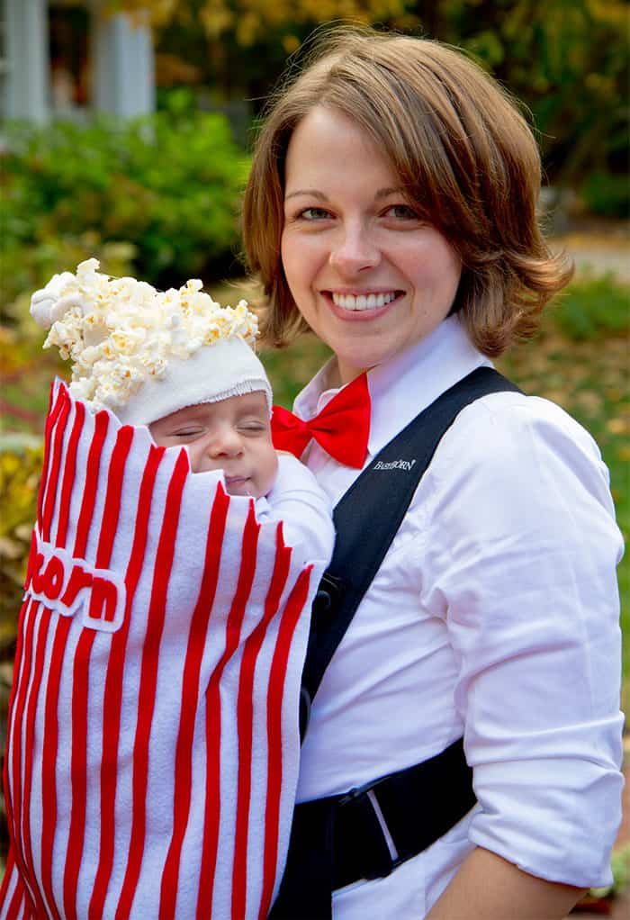 Halloween Costume Ideas For Parents With Baby Carriers popcorn