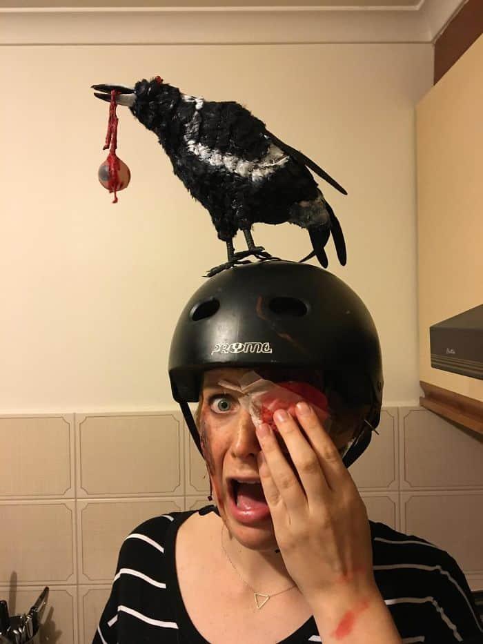 Halloween Costumes bird eating eye