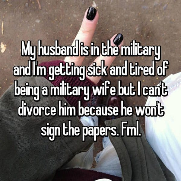 People Reveal Why They Want To Divorce military wife