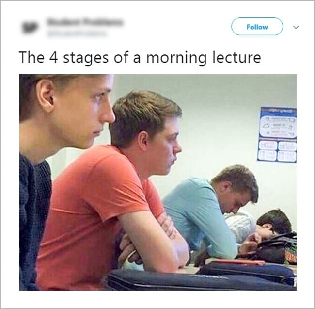 Struggling College Students stages of a morning lecture