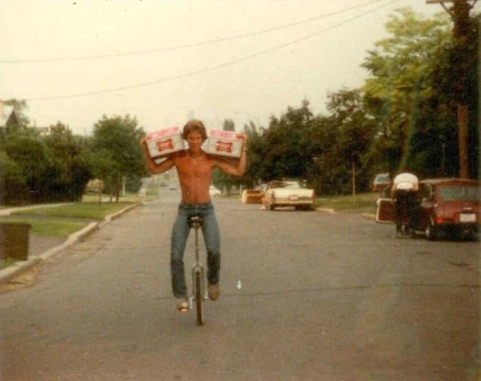 Times Our Parents Were Cooler beers and unicycle