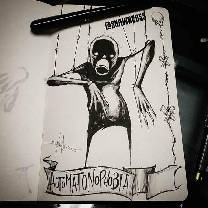shawn coss Illustrated Phobias automatophobia