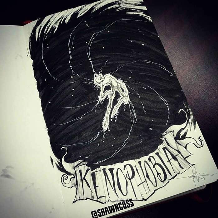 shawn coss Illustrated Phobias kenophobia