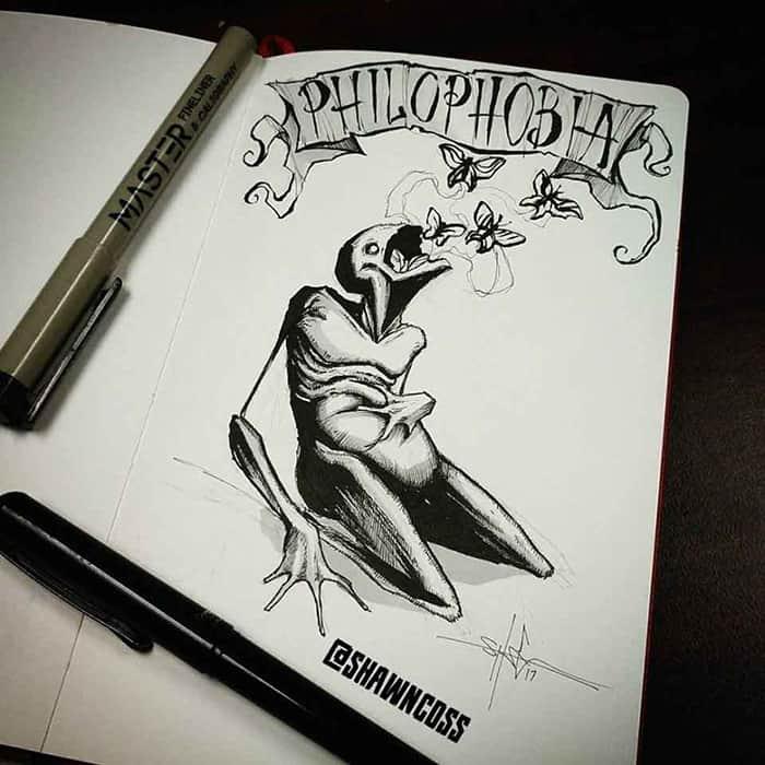 shawn coss Illustrated Phobias philophobia