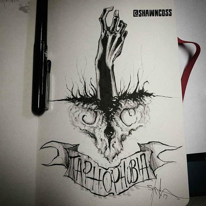 shawn coss Illustrated Phobias taphophobia