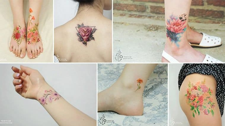 Beautifully Designed Floral Watercolor Tattoos