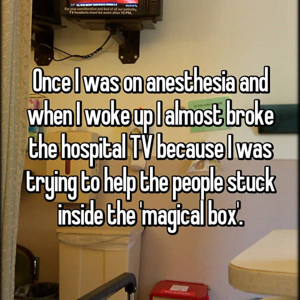 Crazy Things People Did Whilst Under Anesthesia people stuck in magical box