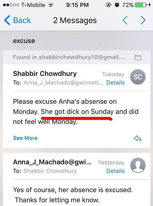 Email And Text Fails please excuse absense