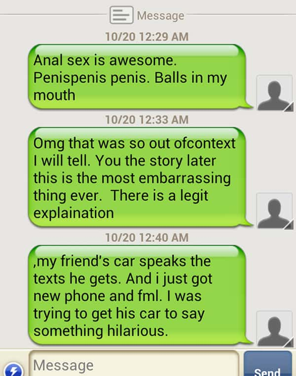 Email And Text Fails talking car