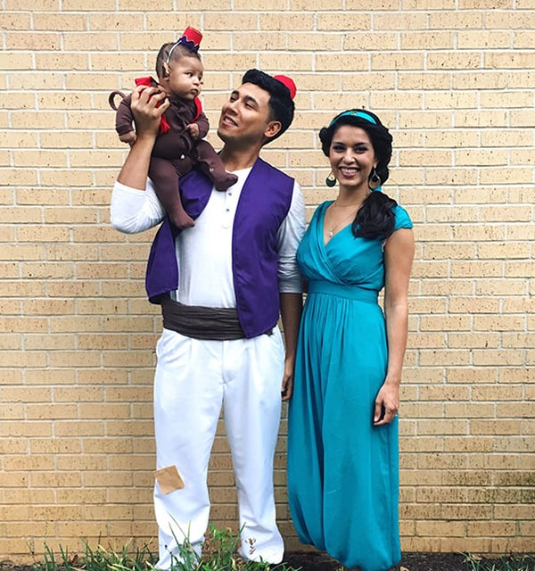 family halloween costumes aladdin jasmin and abu