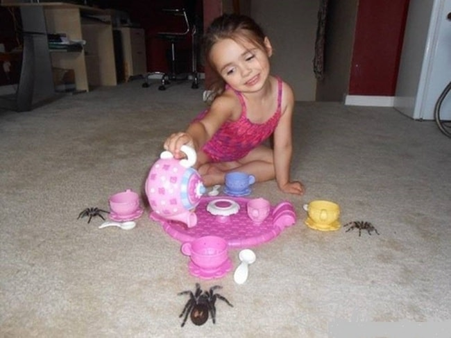 Kids Being Strange tea party with spiders