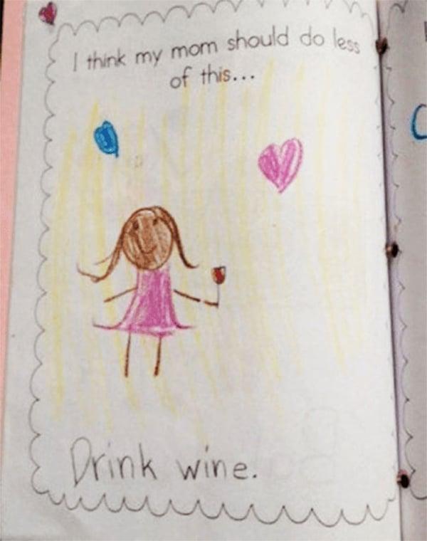 Kids Drawings Embarrassed Parents drink wine