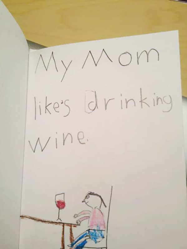 Kids Drawings Embarrassed Parents drinking wine