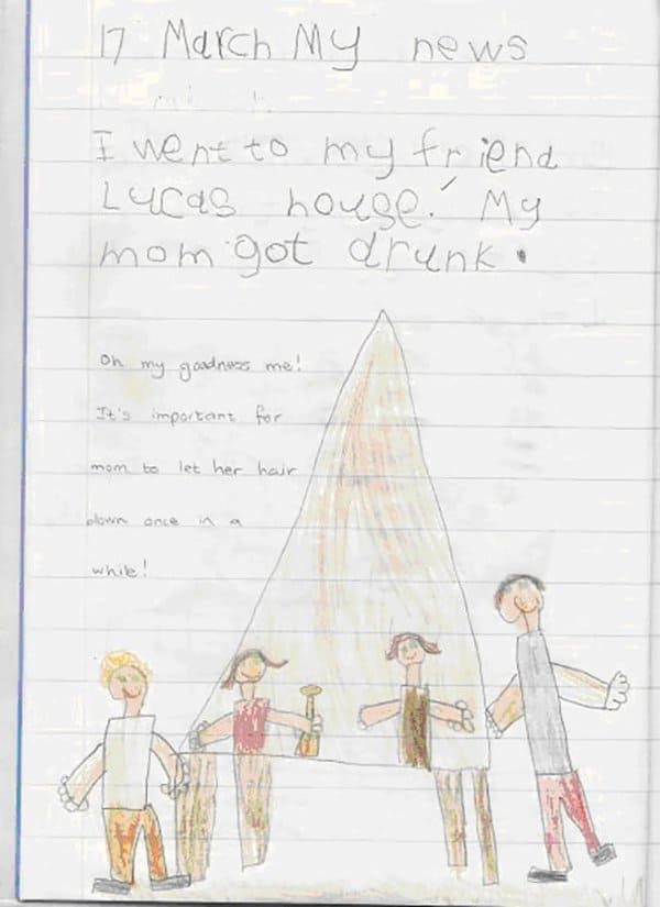 Kids Drawings Embarrassed Parents mom got drunk