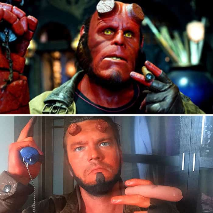 Low Cost Cosplays Household Objects hellboy