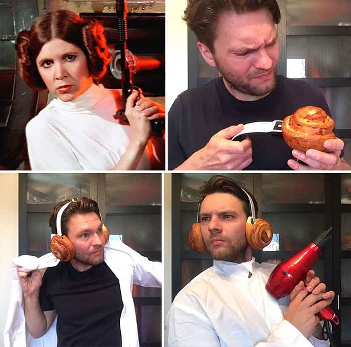 Low Cost Cosplays Household Objects princess leia