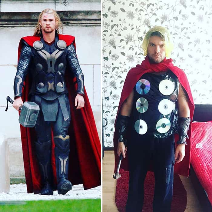 Low Cost Cosplays Household Objects thor