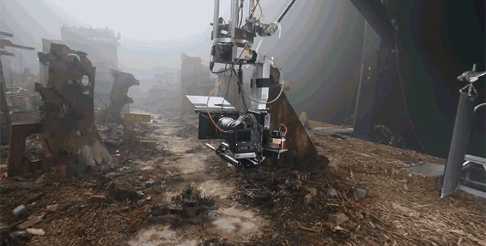 Miniature Film Sets Blade Runner 2049 moved by crane