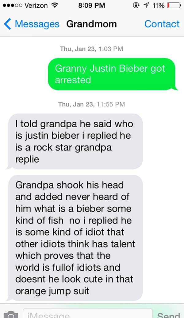 Texts From Grandparents justin bieber