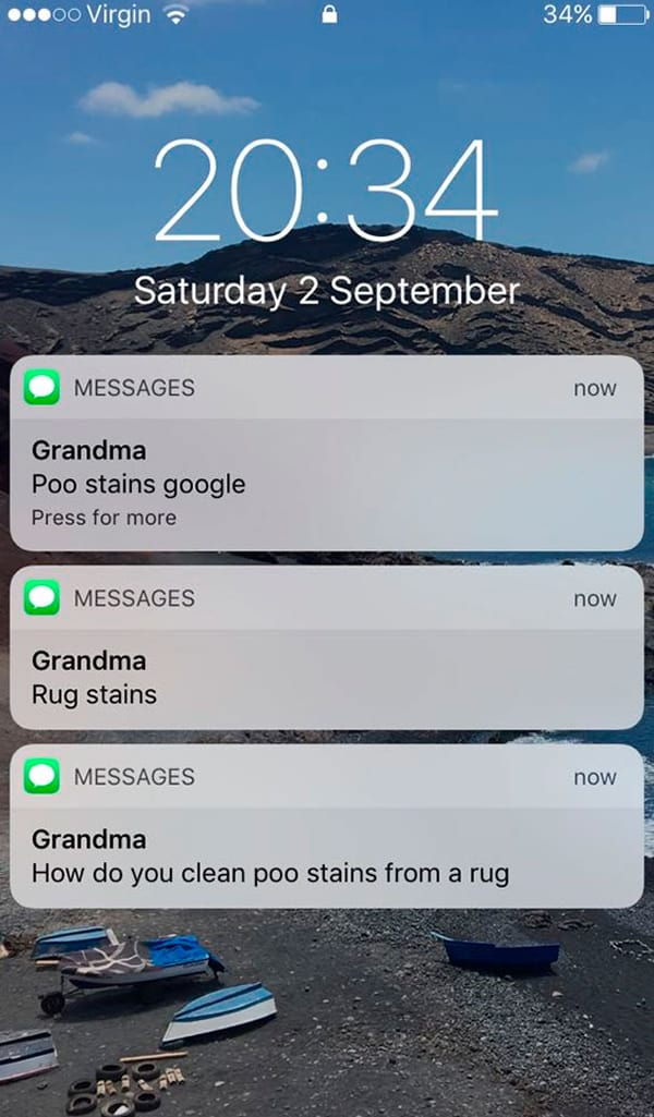 Texts From Grandparents poo stains