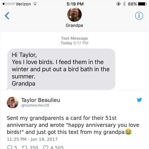Texts From Grandparents yes i love birds