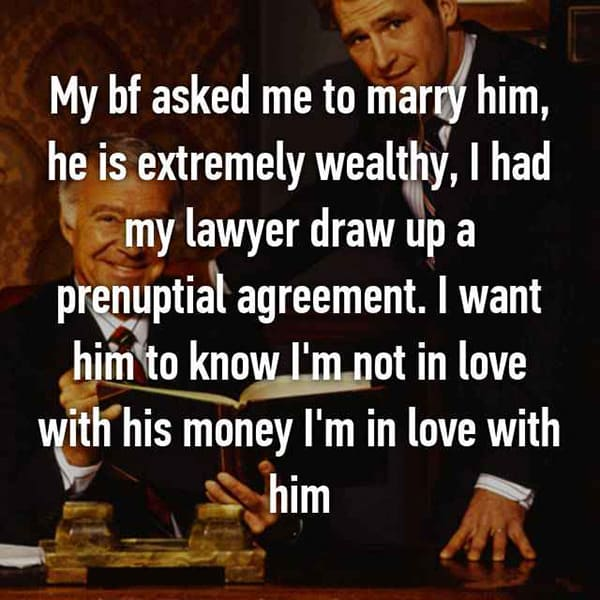 Thoughts On Prenuptial Agreements not in love with his money