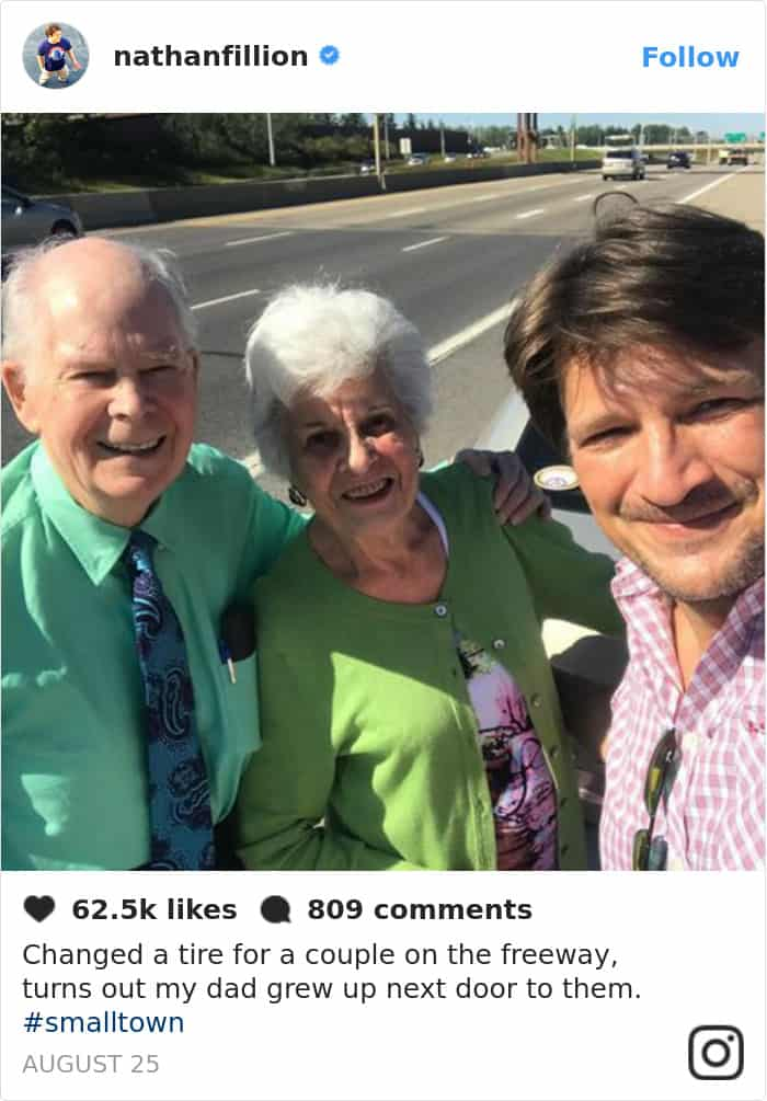 Tweets By Nathan Fillion changed a tire