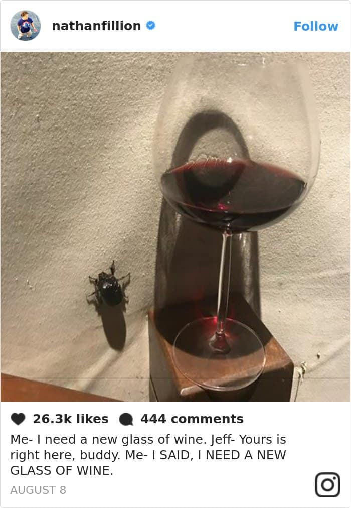 Tweets By Nathan Fillion new glass of wine