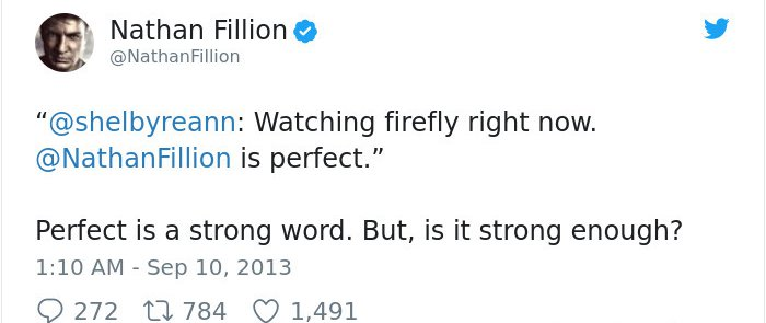 Tweets By Nathan Fillion strong word