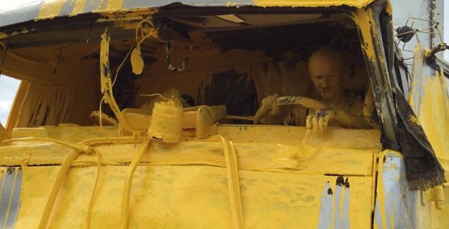 Awful Day At Work covered in yellow paint