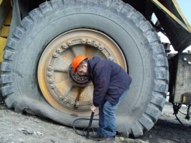 Awful Day At Work huge flat tire