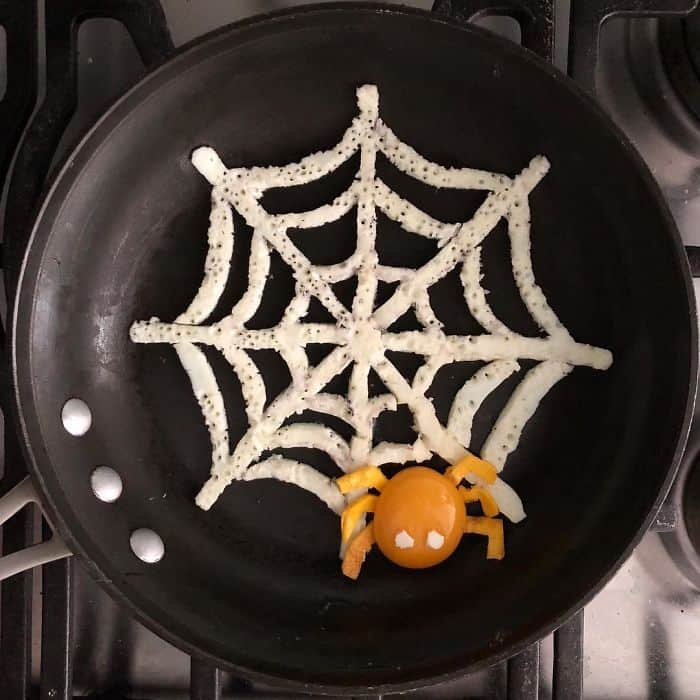 Breakfast Eggs Into Works Of Art spider web
