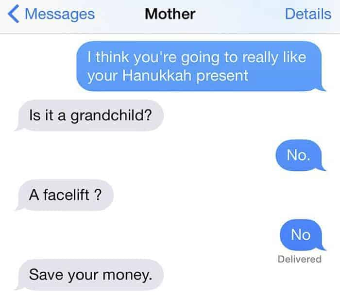 Crazy Jewish Mom Messages save your money