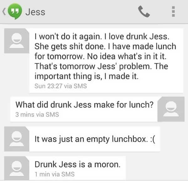 Funny Drunk Texts empty lunchbox