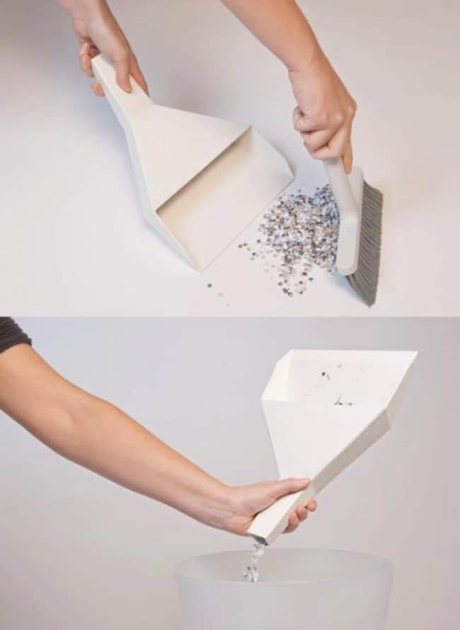 Impressive Inventions dustpan with emptying hole