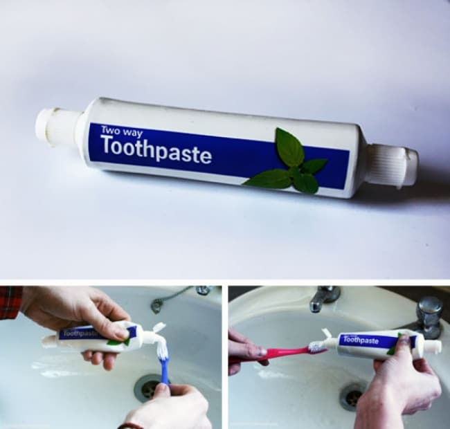 Impressive Inventions two way toothpaste