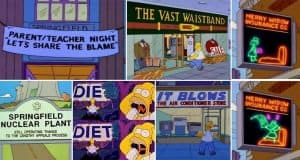 Punny Signs From The Simpsons That You May Have Missed