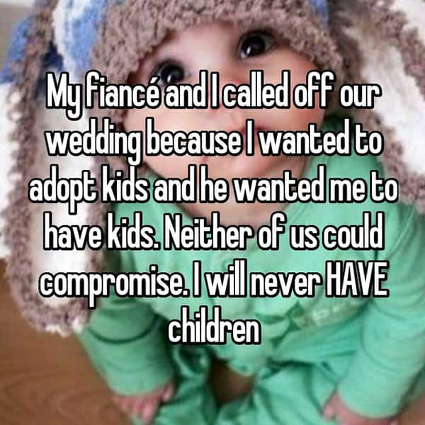 Reasons That People Cancelled Their Weddings children
